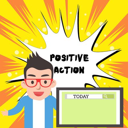 Handwriting text writing Positive Action. Conceptual photo doing good attitude against certain situation Fine reaction Male Speaker Monitor with Search Tool on Screen Presentation or Report