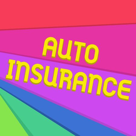 Handwriting text writing Auto Insurance. Conceptual photo Protection against financial loss in case of accident Multicolor Sheets of Cardboard Paper of Different Colors Placed Randomly