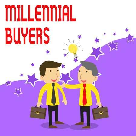 Handwriting text writing Millennial Buyers. Conceptual photo Type of consumers that are interested in trending products Two White Businessmen Colleagues with Brief Cases Sharing Idea Solution Stock Photo