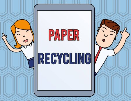 Text sign showing Paper Recycling. Business photo text Using the waste papers in a new way by recycling them Male and Female Index Fingers Up Touch Screen Tablet Smartphone Device Stock Photo