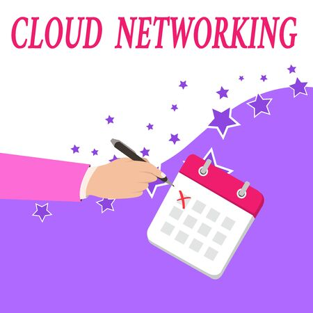 Text sign showing Cloud Networking. Business photo text is term describing access of networking resources Male Hand Formal Suit Crosses Off One Day Calendar Red Ink Ballpoint Pen Stock Photo