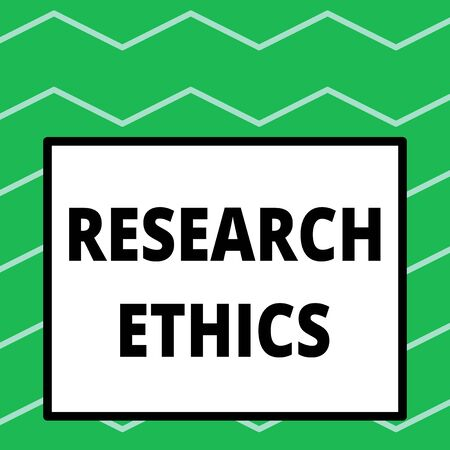 Writing note showing Research Ethics. Business concept for interested in the analysis ofethicalissues that raised Big square background inside one thick bold black outline frame Stock Photo