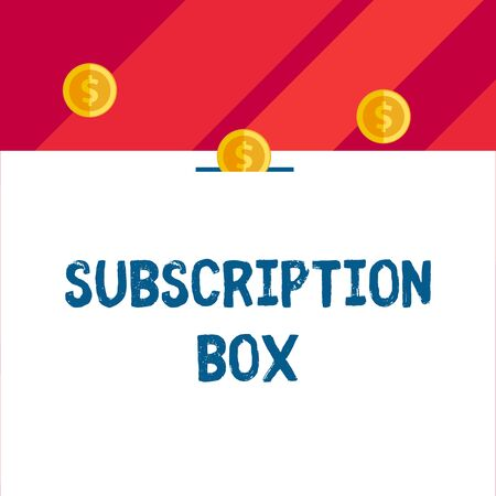 Writing note showing Subscription Box. Business concept for button if you clicked on will get news or videos about site Front view three penny coins icon one entering collecting box slot Stock Photo