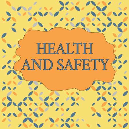 Text sign showing Health And Safety. Business photo text procedures intended to prevent accident in workplace Seamless Endless Infinite Summer Autumn Leaf Texture Multicolored Pattern