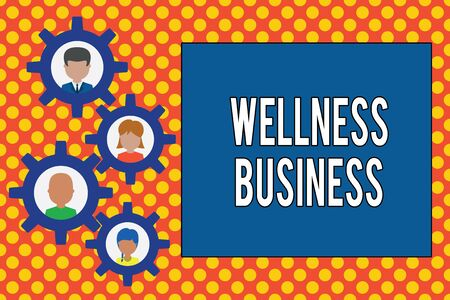 Text sign showing Wellness Business. Business photo showcasing Professional venture focusing the health of mind and body Gearshaped picture frame family ornament mother father daughter son photo 写真素材
