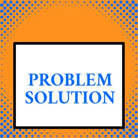 Writing note showing Problem Solution. Business concept for solving consists of using generic methods in orderly analysisner Front close up view big blank rectangle abstract geometrical background Stock Photo