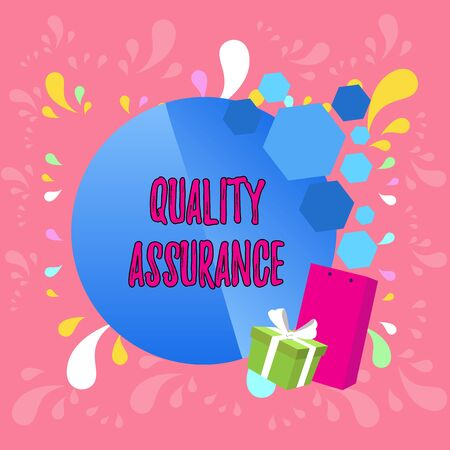 Word writing text Quality Assurance. Business photo showcasing Ensures a certain level of quality Established requirement Greeting Card Poster Gift Package Presentation Box Decorated by Bowknot Banco de Imagens
