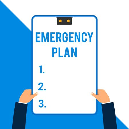 Word writing text Emergency Plan. Business photo showcasing Procedures for response to major emergencies Be prepared Two executive male hands holding electronic device geometrical background