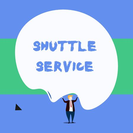 Text sign showing Shuttle Service. Business photo showcasing vehicles like buses travel frequently between two places Front view standing man dressed suit tie two hands up big deflated balloon Zdjęcie Seryjne