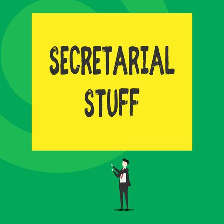 Word writing text Secretarial Stuff. Business photo showcasing Secretary belongings Things owned by demonstratingal assistant Isolated view young man standing pointing upwards two hands big rectangle Stock Photo