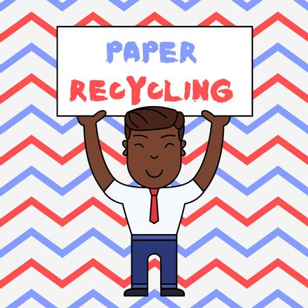 Text sign showing Paper Recycling. Business photo text Using the waste papers in a new way by recycling them Smiling Man Standing Holding Big Empty Placard Overhead with Both Hands