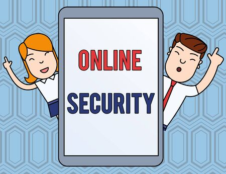 Text sign showing Online Security. Business photo text rules to protect against attacks over the Internet Male and Female Index Fingers Up Touch Screen Tablet Smartphone Device