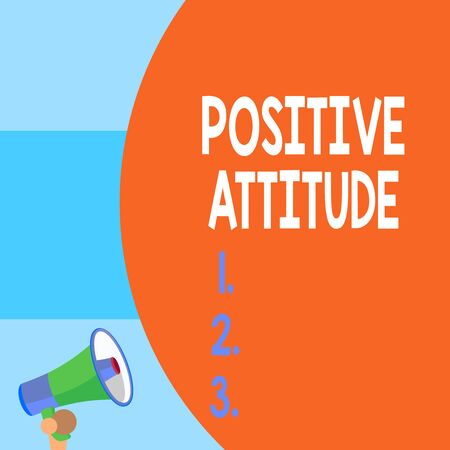 Handwriting text writing Positive Attitude. Conceptual photo Being optimistic in Life Looking for good things Half part blank huge balloon empty text with small megaphone. Announcement Reklamní fotografie - 124832339