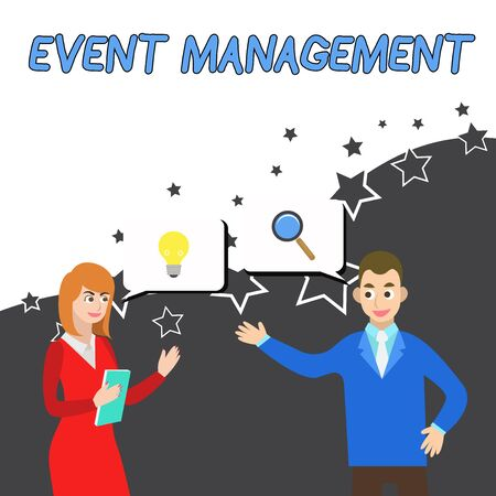 Conceptual hand writing showing Event Management. Concept meaning creation and development of large scale actions festivals Business Partners Colleague Jointly Seeking Problem Solution