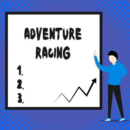 Writing note showing Adventure Racing. Business concept for disciplinary sport involving navigation over unknown course Man standing pointing up blank rectangle Geometric background Imagens