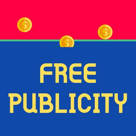 Word writing text Free Publicity. Business photo showcasing Promotional marketing Mass media Public Relations Editorial Front view close up three penny coins icon one entering collecting box slot Stock Photo