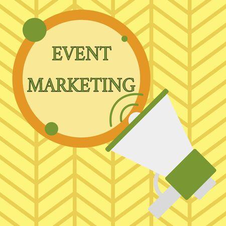 Handschrift Text schreiben Event-Marketing. Konzeptionelles Foto beschreibt den Prozess der Entwicklung von Displays zur Förderung des Produkts SpeakingTrumpet leere runde strichförmige Sprechtext-Ballon-Ankündigung Standard-Bild