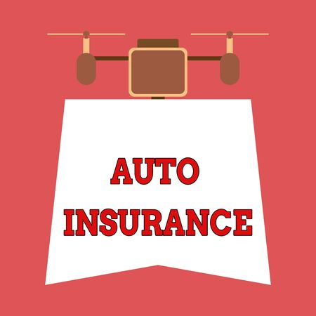 Writing note showing Auto Insurance. Business concept for Protection against financial loss in case of accident Drone holding downwards banner. Geometrical abstract background design