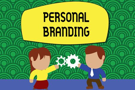 Word writing text Personal Branding. Business photo showcasing Practice of People Marketing themselves Image as Brands Standing young couple sharing gear. Man tie woman skirt commerce relation Imagens