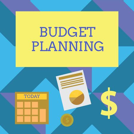 Text sign showing Budget Planning. Business photo showcasing The written description about current and future expenses Computing Dollar Investment in Gold and Presenting Data thru Pie Chart Graph