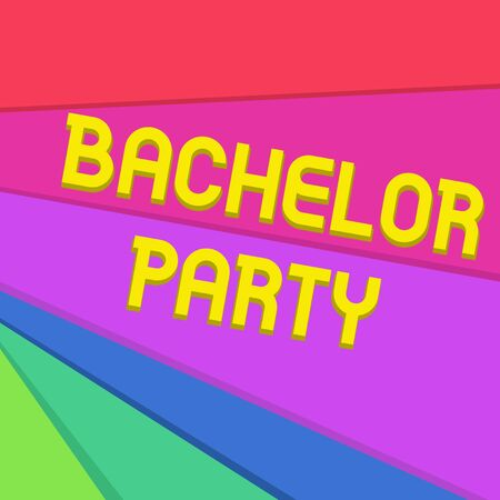 Handwriting text writing Bachelor Party. Conceptual photo Party given for a analysis who is about to get married Stag night Multicolor Sheets of Cardboard Paper of Different Colors Placed Randomly