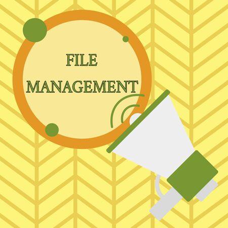 Handschrift Text schreiben Dateiverwaltung. Konzeptionelles Foto-Computerprogramm, das eine Benutzeroberfläche für Analysedaten bietet Standard-Bild