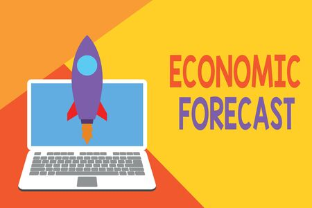 Text sign showing Economic Forecast. Business photo showcasing Process of making predictions about the economy condition Launching rocket up laptop . Startup project. Developing goal objectives Reklamní fotografie - 124833886