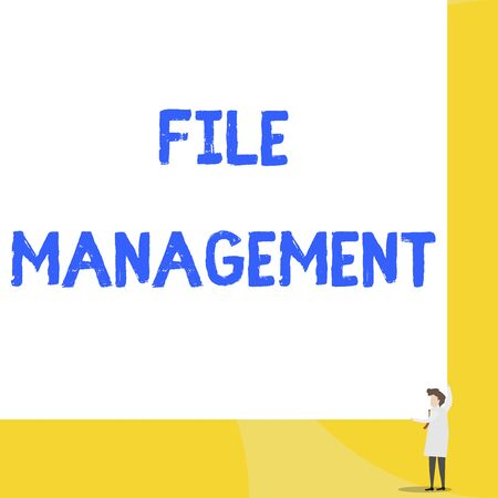 Writing note showing File Management. Business concept for computer program that provides user interface to analysisage data Young woman holding two hands right corner big rectangle