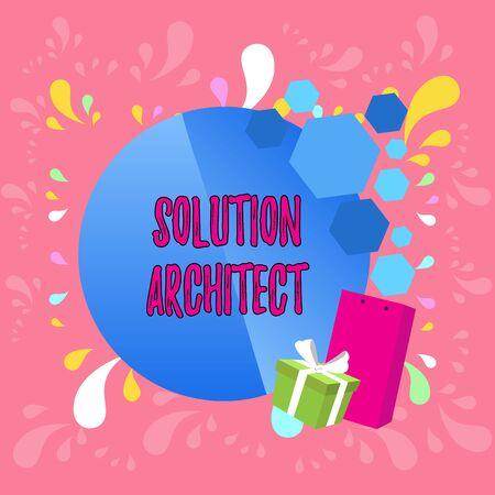 Word writing text Solution Architect. Business photo showcasing Design applications or services within an organization Greeting Card Poster Gift Package Presentation Box Decorated by Bowknot Imagens