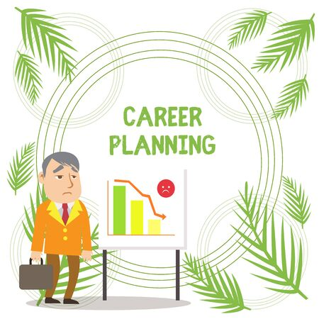 Handwriting text writing Career Planning. Conceptual photo A list of goals and the actions you can take to achieve them Businessman Clerk with Brief Case Standing Whiteboard Declining Bar Chart Imagens