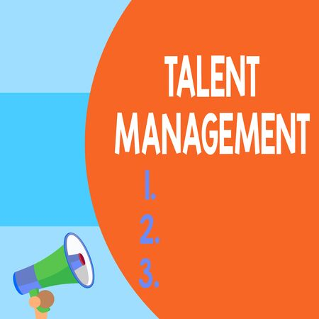 Handwriting text writing Talent Management. Conceptual photo Acquiring hiring and retaining talented employees Half part blank huge balloon empty text with small megaphone. Announcement