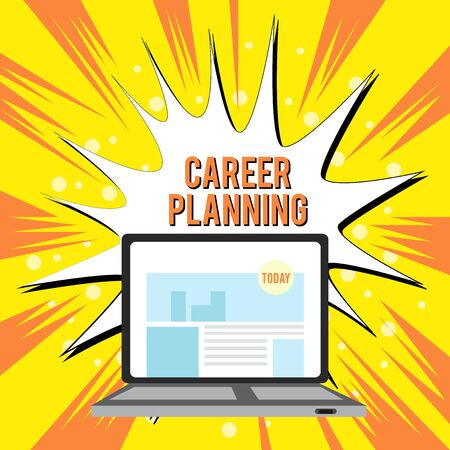Text sign showing Career Planning. Business photo text A list of goals and the actions you can take to achieve them Open Modern Laptop Switched On with Website Homepage on Screen Web Search