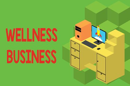 Text sign showing Wellness Business. Business photo showcasing Professional venture focusing the health of mind and body Working desktop station drawers personal computer launching rocket clouds