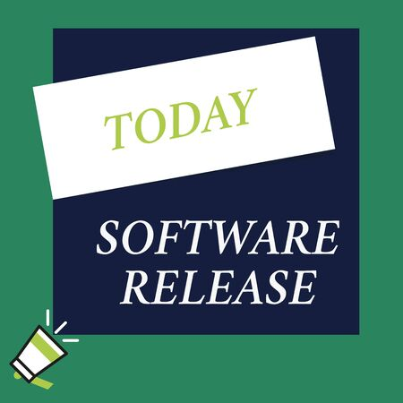Writing note showing Software Release. Business concept for sum of stages of development and maturity for program Speaking trumpet on left bottom and paper to rectangle background