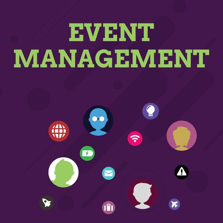 Word writing text Event Management. Business photo showcasing creation and development of large scale actions festivals Networking Technical Icons with Chat Heads Scattered on Screen for Link Up
