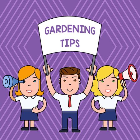 Handwriting text Gardening Tips. Conceptual photo Proper Practices in growing crops Botanical Approach People with Blank Banner, Megaphone and Spy Glass Peaceful Demonstration Banco de Imagens