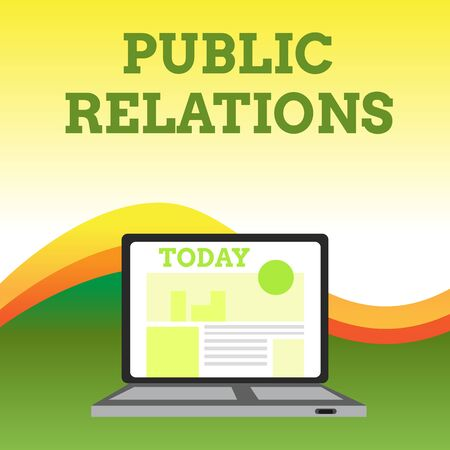 Text sign showing Public Relations. Business photo showcasing practice analysisaging spread of information between individual Open Modern Laptop Switched On with Website Homepage on Screen Web Search