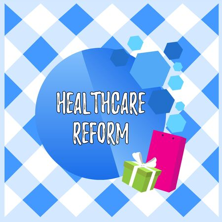 Conceptual hand writing showing Healthcare Reform. Concept meaning Innovation and Improvement in the quality of care program Greeting Card Poster Gift Package Box Decorated by Bowknot