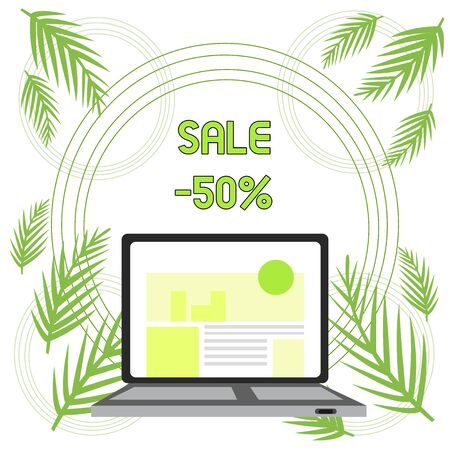 Handwriting text Sale 50 Percent. Conceptual photo A promo price of an item at 50 percent markdown Open Modern Laptop Switched On with Website Homepage on Screen Web Search Foto de archivo