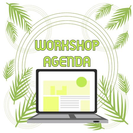 Handwriting text Workshop Agenda. Conceptual photo helps you to ensure that your place stays on schedule Open Modern Laptop Switched On with Website Homepage on Screen Web Search