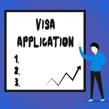 Writing note showing Visa Application. Business concept for Form to ask permission travel or live in another country Man standing pointing up blank rectangle Geometric background 写真素材