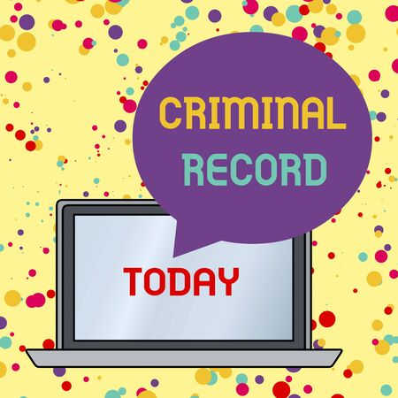 Text sign showing Criminal Record. Business photo text profile of a demonstrating criminal history with details Round Shape Empty Speech Bubble Floating Over Open Laptop Colored Backdrop