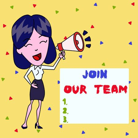 Text sign showing Join Our Team. Business photo showcasing inviting someone to join in your local group or company Young Woman Speaking into Blowhorn Volume Icon Colored Backgdrop Text Box Stock Photo