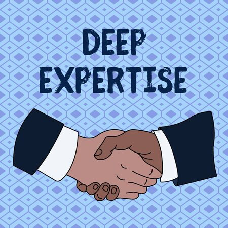 Handwriting text Deep Expertise. Conceptual photo Great skill or broad knowledge in a particular field or hobby Hand Shake Multiracial Male Business Partners Colleagues Formal Shirt Suit Stock Photo