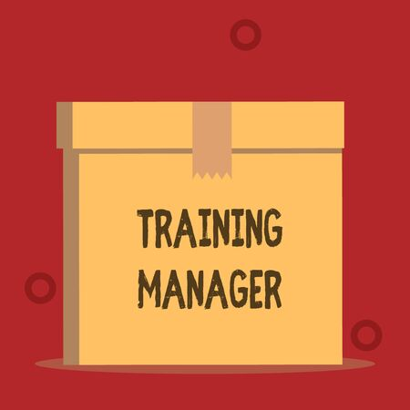 Word writing text Training Manager. Business photo showcasing giving needed skills for high positions improvement Close up front view open brown cardboard sealed box lid. Blank background