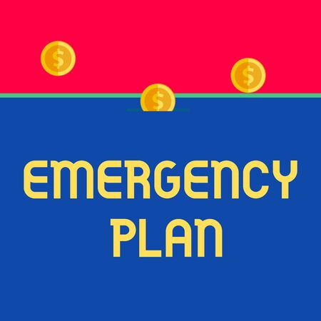 Word writing text Emergency Plan. Business photo showcasing Procedures for response to major emergencies Be prepared Front view close up three penny coins icon one entering collecting box slot