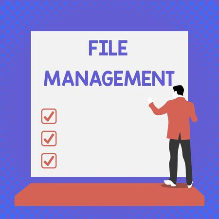 Text sign showing File Management. Business photo text computer program that provides user interface to analysisage data Back view young man dressed suit standing platform facing blank rectangle