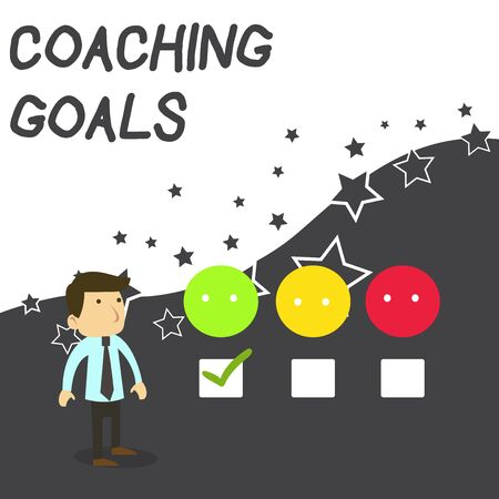 Text sign showing Coaching Goals. Business photo text Empowers individuals Encourages them to take responsibility White Male Questionnaire Survey Choice Checklist Satisfaction Green Tick Banco de Imagens