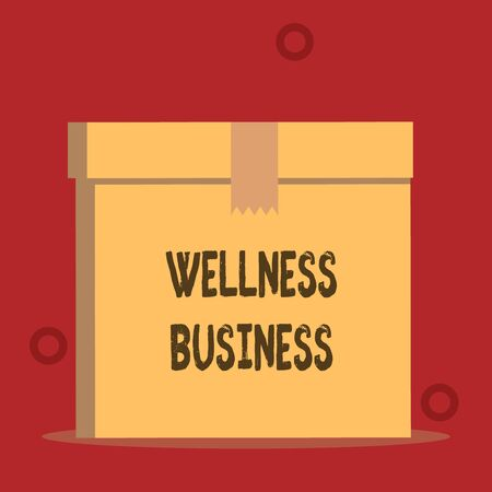 Word writing text Wellness Business. Business photo showcasing Professional venture focusing the health of mind and body Close up front view open brown cardboard sealed box lid. Blank background
