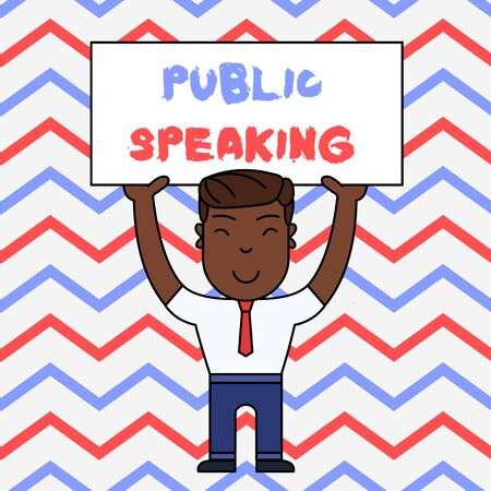Text sign showing Public Speaking. Business photo text talking showing stage in subject Conference Presentation Smiling Man Standing Holding Big Empty Placard Overhead with Both Hands